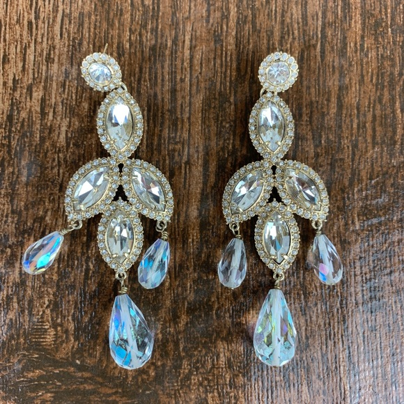 Jewelry - Gold and Crystal Statement Earrings